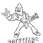 Cartoon of man with electric guitar in his hands.