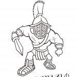Cartoon of a gladiator.
